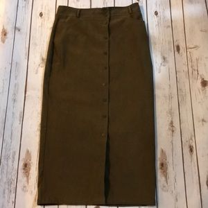 Vintage New York & Co long green button down skirt